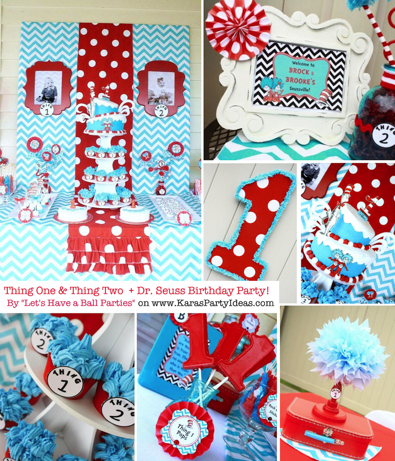 Kara 39 s party ideas thing one thing two dr seuss twins 1st for 1 birthday decoration images