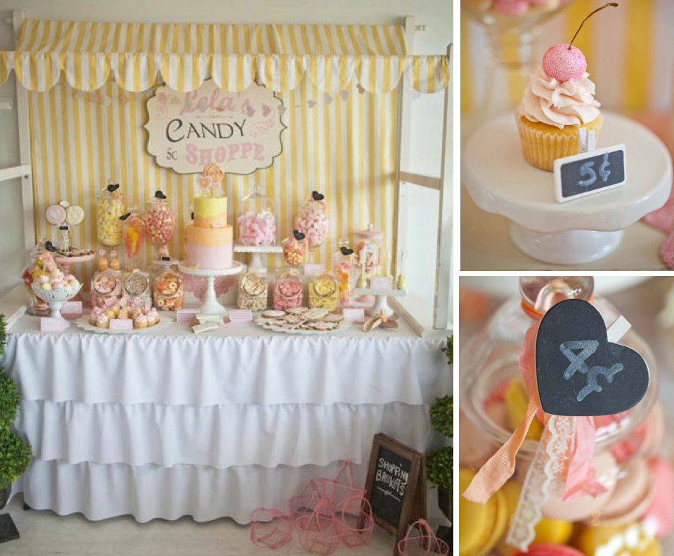 Karas Party Ideas Vintage Candy Sweet Shoppe Girl 6th Birthday Planning