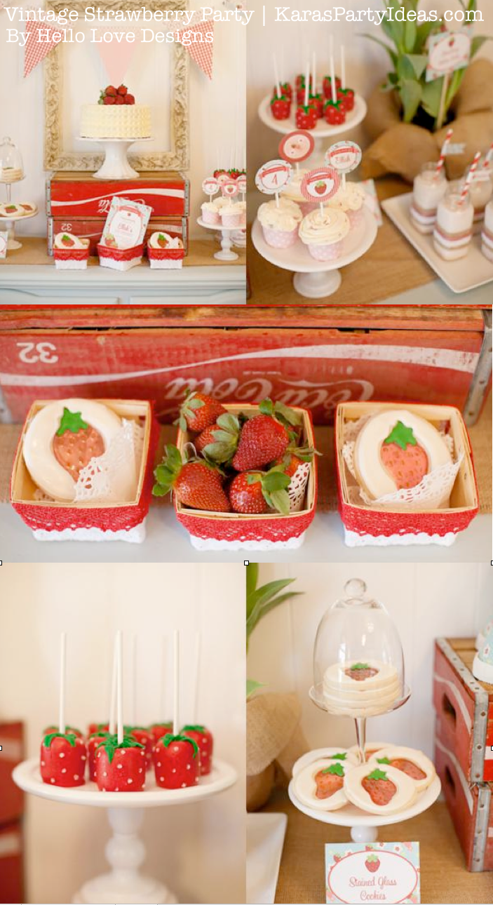 Vintage Strawberry + Strawberry Shortcake themed birthday party via Kara's Party Ideas.com #vintage #strawberry #birthday #party #shortcake #themed #girl #1st #baby #shower #planning #ideas #cake #idea #decor