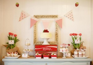Vintage Strawberry + Strawberry Shortcake themed birthday party via Kara's Party Ideas.com #vintage #strawberry #birthday #party #shortcake #themed #girl #1st #baby #shower #planning #ideas #cake #idea #decor (30)
