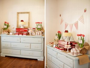Vintage Strawberry + Strawberry Shortcake themed birthday party via Kara's Party Ideas.com #vintage #strawberry #birthday #party #shortcake #themed #girl #1st #baby #shower #planning #ideas #cake #idea #decor (29)