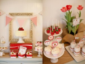 Vintage Strawberry + Strawberry Shortcake themed birthday party via Kara's Party Ideas.com #vintage #strawberry #birthday #party #shortcake #themed #girl #1st #baby #shower #planning #ideas #cake #idea #decor (28)