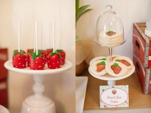 Vintage Strawberry + Strawberry Shortcake themed birthday party via Kara's Party Ideas.com #vintage #strawberry #birthday #party #shortcake #themed #girl #1st #baby #shower #planning #ideas #cake #idea #decor (27)