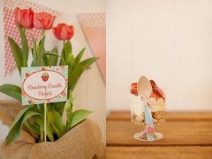 Vintage Strawberry + Strawberry Shortcake themed birthday party via Kara's Party Ideas.com #vintage #strawberry #birthday #party #shortcake #themed #girl #1st #baby #shower #planning #ideas #cake #idea #decor (24)
