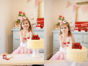 Vintage Strawberry + Strawberry Shortcake themed birthday party via Kara's Party Ideas.com #vintage #strawberry #birthday #party #shortcake #themed #girl #1st #baby #shower #planning #ideas #cake #idea #decor (17)