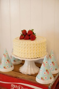 Vintage Strawberry + Strawberry Shortcake themed birthday party via Kara's Party Ideas.com #vintage #strawberry #birthday #party #shortcake #themed #girl #1st #baby #shower #planning #ideas #cake #idea #decor (14)
