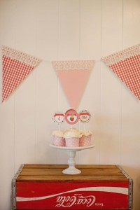 Vintage Strawberry + Strawberry Shortcake themed birthday party via Kara's Party Ideas.com #vintage #strawberry #birthday #party #shortcake #themed #girl #1st #baby #shower #planning #ideas #cake #idea #decor (13)