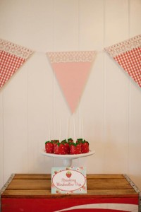 Vintage Strawberry + Strawberry Shortcake themed birthday party via Kara's Party Ideas.com #vintage #strawberry #birthday #party #shortcake #themed #girl #1st #baby #shower #planning #ideas #cake #idea #decor (12)
