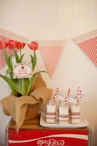 Vintage Strawberry + Strawberry Shortcake themed birthday party via Kara's Party Ideas.com #vintage #strawberry #birthday #party #shortcake #themed #girl #1st #baby #shower #planning #ideas #cake #idea #decor (11)