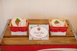 Vintage Strawberry + Strawberry Shortcake themed birthday party via Kara's Party Ideas.com #vintage #strawberry #birthday #party #shortcake #themed #girl #1st #baby #shower #planning #ideas #cake #idea #decor (9)
