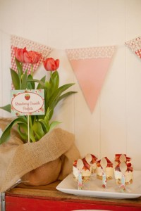 Vintage Strawberry + Strawberry Shortcake themed birthday party via Kara's Party Ideas.com #vintage #strawberry #birthday #party #shortcake #themed #girl #1st #baby #shower #planning #ideas #cake #idea #decor (5)
