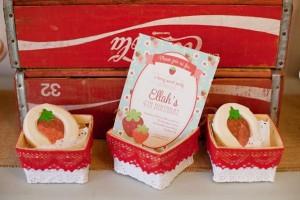 Vintage Strawberry + Strawberry Shortcake themed birthday party via Kara's Party Ideas.com #vintage #strawberry #birthday #party #shortcake #themed #girl #1st #baby #shower #planning #ideas #cake #idea #decor (3)