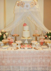 Vintage Peach and Gold baby shower via Kara's Party Ideas KarasPartyIdeas.com #vintage #peach #gold #party #idea #baby #shower (18)