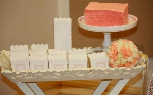Vintage Peach and Gold baby shower via Kara's Party Ideas KarasPartyIdeas.com #vintage #peach #gold #party #idea #baby #shower (17)