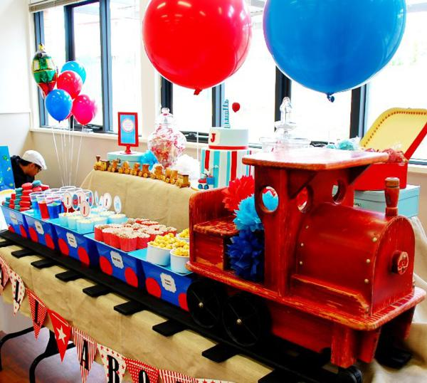 Train Birthday Table Decoration Image Inspiration of Cake and