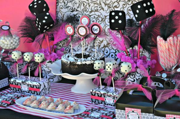 Karas Party Ideas Pink BUNCO themed birthday party via Karas