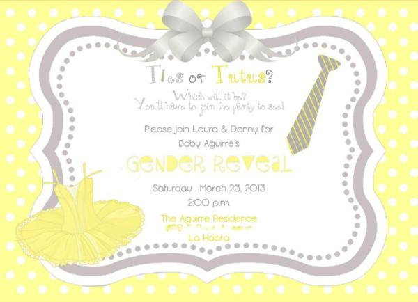 kara's party ideas ties or tutus gender reveal shower party, Baby shower invitations