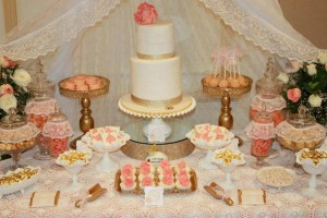 Vintage Peach and Gold baby shower via Kara's Party Ideas KarasPartyIdeas.com #vintage #peach #gold #party #idea #baby #shower (8)