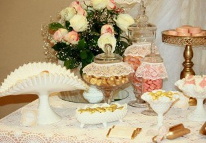 Vintage Peach and Gold baby shower via Kara's Party Ideas KarasPartyIdeas.com #vintage #peach #gold #party #idea #baby #shower (5)