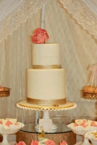 Vintage Peach and Gold baby shower via Kara's Party Ideas KarasPartyIdeas.com #vintage #peach #gold #party #idea #baby #shower (3)