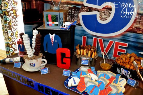 Kara S Party Ideas Live At Five Anchorman Boy News Themed