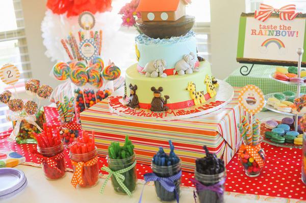 Karas Party Ideas Noahs Ark Animal Rainbow Twins Birthday Party