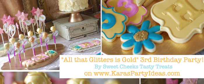 All that Glitters is Gold superstar themed 3rd birthday party via Kara's Party Ideas KarasPartyIdeas.com #gold #sparkle #glitter #all that #birthday #party #ideas