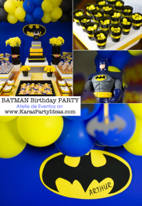 BATMAN themed birthday party via Kara's Party Ideas KarasPartyIdeas.com #batman #birthday #party #ideas #cake #decorations #cupcakes #favors #idea #boy