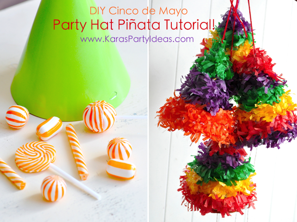 Cinco de Mayo Fiesta DIY Party Hat Pull String Pinata's via Kara's Party Ideas KarasPartyIdeas.com