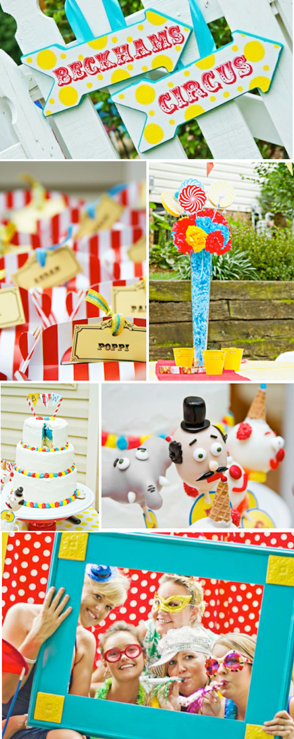 Circus Carnival Big Top themed birthday party via Kara's Party Ideas KarasPartyIdeas.com #planning #party #circus #carnival #ideas #food #decor #supplies #fair #food #cake #clown #idea