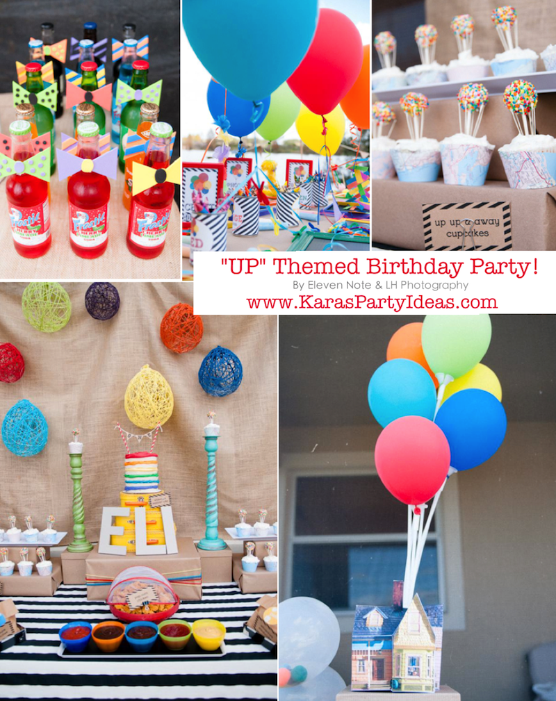 Karas Party Ideas Disneys Up Rainbow Balloon Boy Girl Birthday