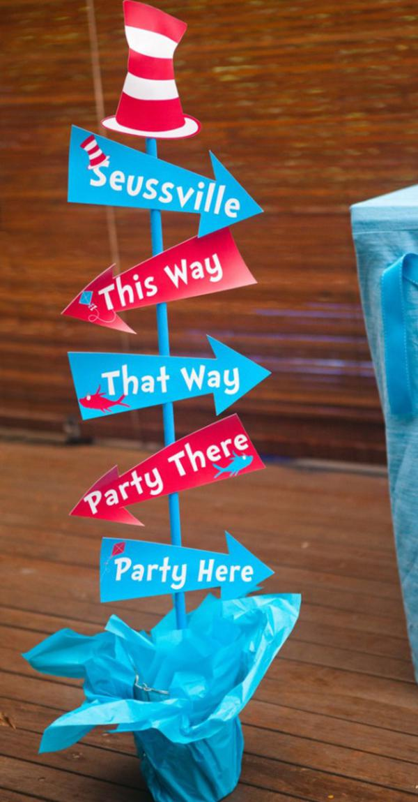 Kara 39 s party ideas dr seuss themed party baby shower party for Sign decoration