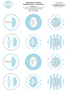 Free printable baby shower party circle tags cupcake toppers via Kara's Party Ideas KarasPartyIdeas.com