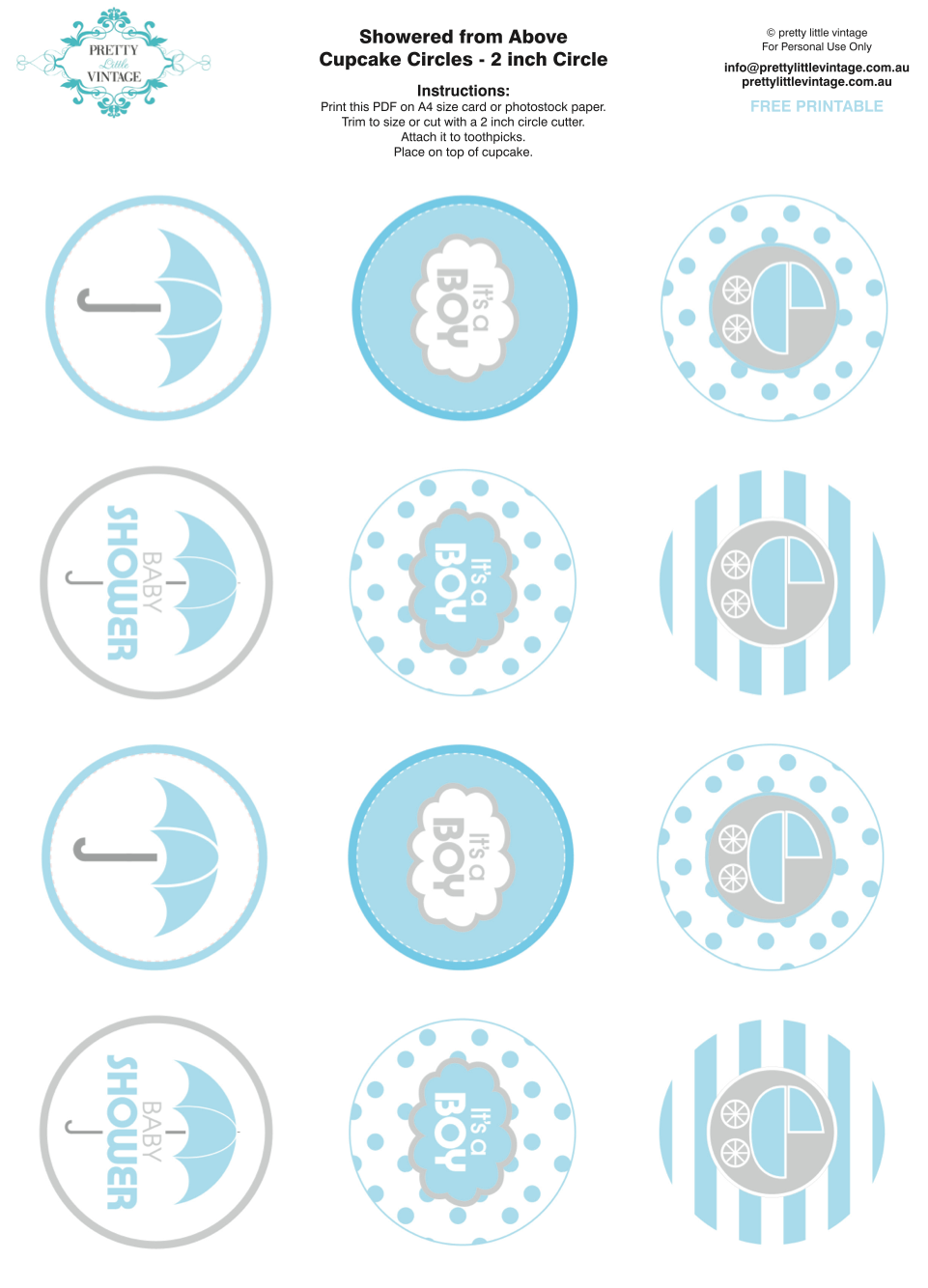 Kara's Party Ideas Free printable baby shower party circle tags cupcake toppers via Kara's Party ...