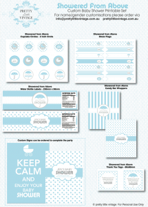 Free printable baby shower party collection toppers via Kara's Party Ideas KarasPartyIdeas.com