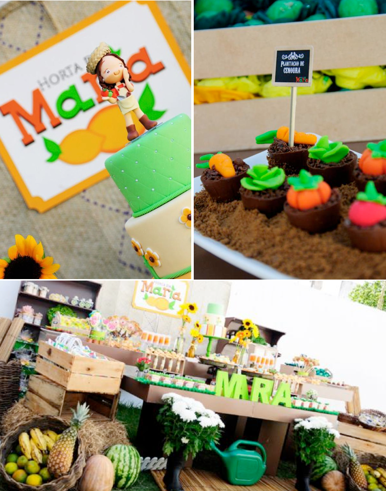 Fruit garden themed birthday party via Kara's Party Ideas! KarasPartyIdeas.com #unique #party #ideas #birthday #garden #fruit #spring #cake #cupcakes #idea