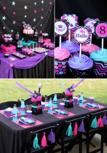 Girly Rockstar themed birthday party via Kara's Party Ideas KarasPartyIdeas.com #girly #rockstar #birthday #party #ideas #decorations