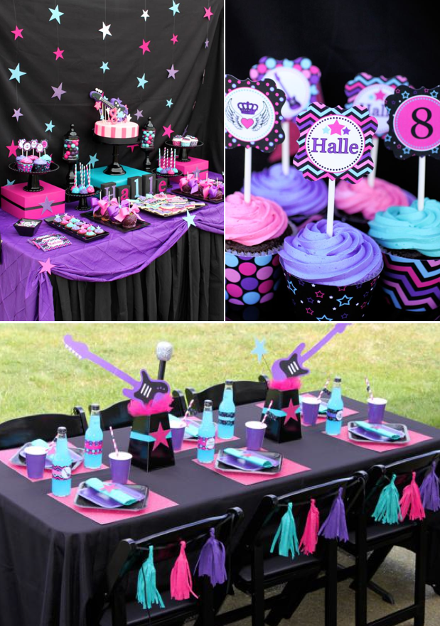 Kara 39 s party ideas girly rock star birthday party for Adult birthday decoration ideas