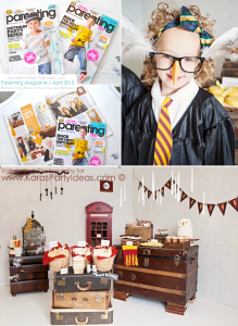 Harry Potter themed birthday party in Parenting Magazine by Kara Allen of Kara's Party Ideas KarasPartyIdeas.com #harry #potter #party #ideas #themed #cake #decor #printables
