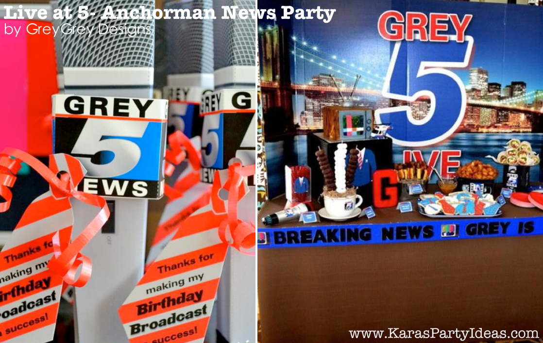 Live at FIVE anchorman NEWS themed birthday party via Kara's Party Idesa | KarasPartyIdeas.com