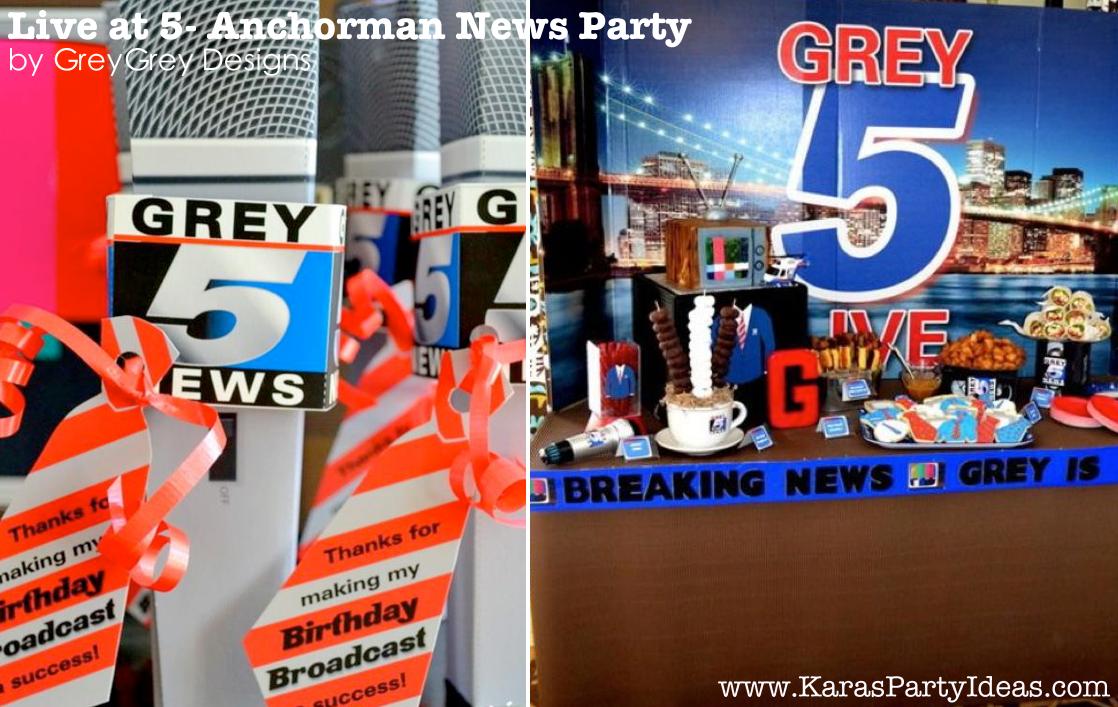 Live at FIVE anchorman NEWS themed birthday party via Kara's Party Idesa | KarasPartyIdeas.com