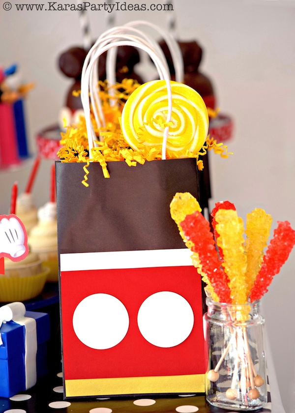 Mickey Mouse Party Ideas Favor Bags Tutorial DIY via Kara's Party Ideas KarasPartyIdeas.com #mickey #mouse #party #favors #ideas #supplies