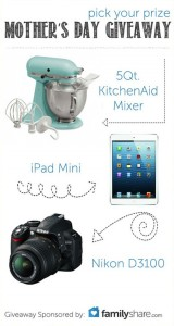 Mother's Day GIVEAWAY! Kitchen aid, mini ipad, Nikon Camera! Via Kara's Party Ideas KarasPartyIdeas.com
