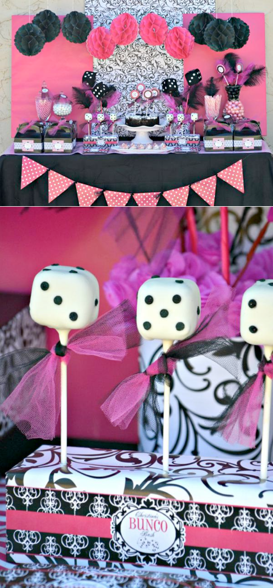 Pink BUNCO themed birthday party via Kara's Party Ideas KarasPartyIdeas.com #pink #bunco #themed #birthday #party #ideas #idea