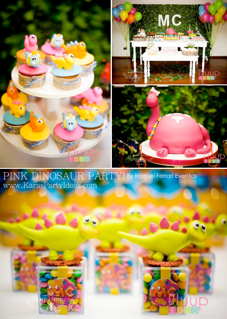 Pink Dinosaur Birthday Party for girls via Kara's Party Ideas KarasPartyIdeas.com #pink #dino #dinosaur #birthday #party #girls #ideas #cake #supplies #favors #decor #idea