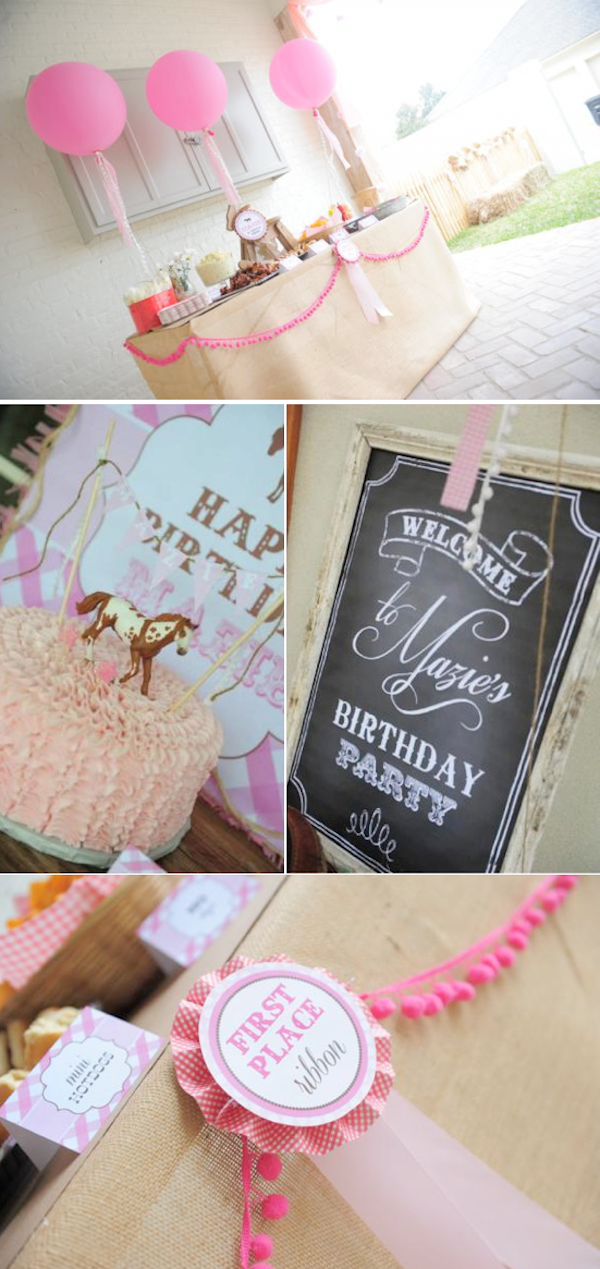 Pink pony themed birthday party via Kara's Party Ideas KarasPartyIdeas.com #pony #horse #birthday #party