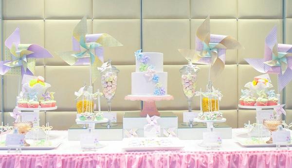 Kara's Party Ideas Pinwheel themed 1st birthday party christening idea cake cupcakes supplies