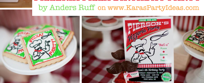 Pizzeria Little Chef themed pizza party via Kara's Birthday Party Ideas KarasPartyIdeas.com #little #chef #pizza #pizzeria #themed #boy #party #ideas #cake #idea #printables #supplies #decorations #kids #activities #favors (1)