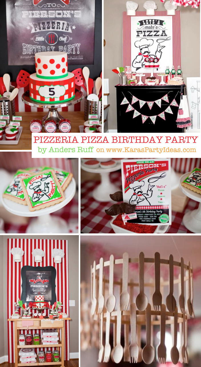 Pizzeria Little Chef themed pizza party via Kara's Birthday Party Ideas KarasPartyIdeas.com #little #chef #pizza #pizzeria #themed #boy #party #ideas #cake #idea #printables #supplies #decorations #kids #activities #favors