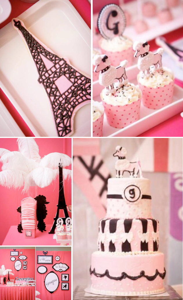 Karas Party Ideas Poodle In Paris French Girl Pink 1st Birthday